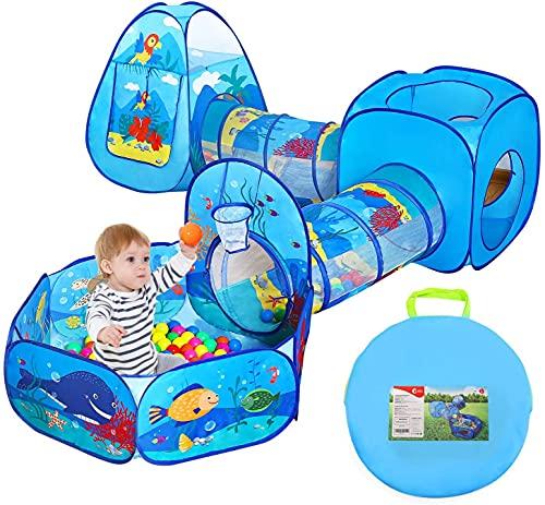 CUTE STONE Kinder Spielzelte Set mit Tunnel, 5-Teiliges Spieltunnel und Bällebad Spielhaus mit...