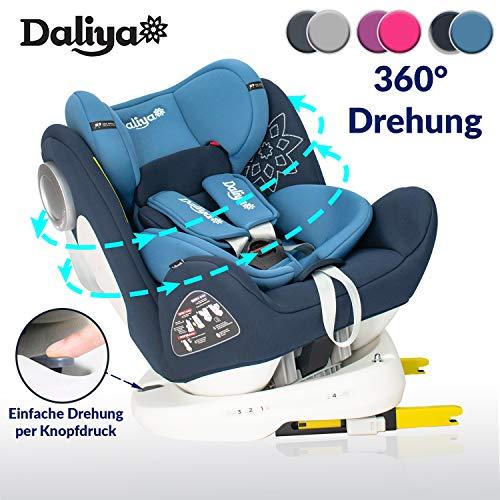 Daliya Sedion Kinderautositz 0-36KG 360° Blau, mitwachsender Autositz, Kindersitz GR. 0+1+2+3, Isofix...