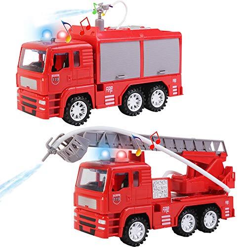 deAO Feuerwehrauto Spielset mit abnehmbarem Zubehör, Wasserschlauch, Lichtern und Geräuschen -...