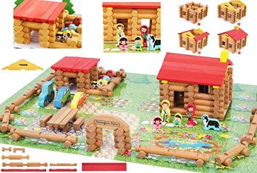 Toys of Wood Oxford Holz Bauernhof mit Tieren, Personen und Fahrzeugen - 207 Holze scheite zum selber...
