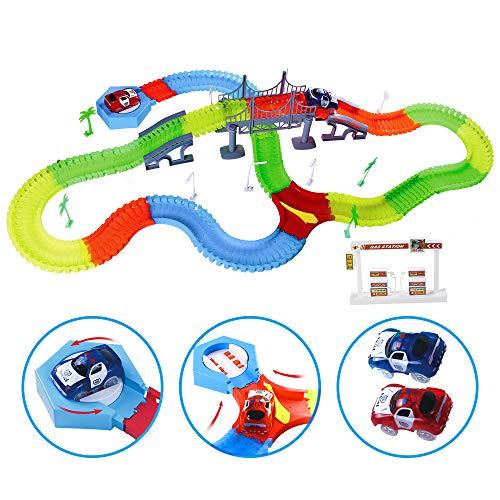 Kuultoy Autorennbahn Leuchtend für Kinder, Magic Trucks Twister Tracks Starter Set, Rennbahn Racetrack...