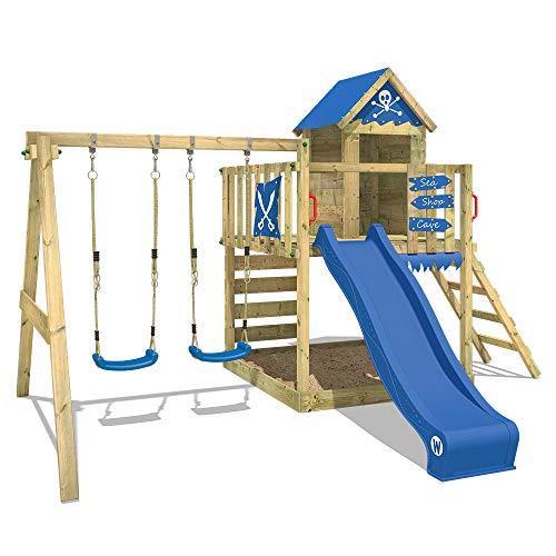 WICKEY Spielturm Klettergerüst Smart Cave mit Schaukel & blauer Rutsche, Baumhaus mit Sandkasten,...