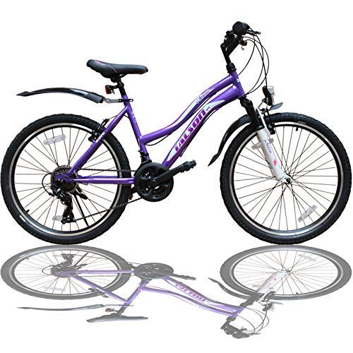 Talson 26 Zoll Mountainbike Mädchen Kinder Fahrrad mit Gabelfederung & Beleuchtung 21-Gang Lila...