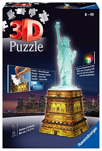 Ravensburger 3D Puzzle Freiheitsstatue bei Nacht, für Kinder und Erwachsene, Wahrzeichen von New York im...