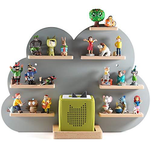 NOR28 Tonie Regal für bis zu 33 Tonie Figuren - Toniebox Regal im Motiv Wolke 40x55x19cm für Jungen und...