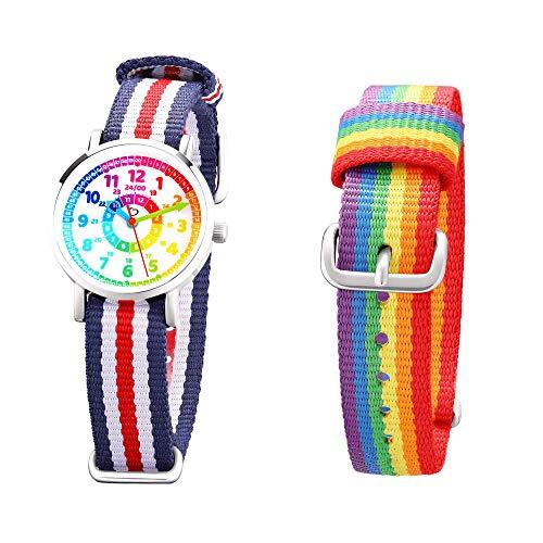 Kinder Armbanduhr Jungen und Mädchen - süße Quarzuhr mit modischem Nylon Armband und Lern-Ziffernblatt...