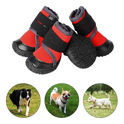 PETLOFT Hundeschuhe, 4pcs Anti Rutsch Pfotenschutz Hund Schuhe mit Einstellbar Verschlussriemen Dog Boots...