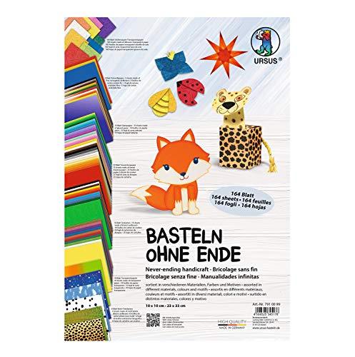 Ursus 7910099 Basteln ohne Ende, Bastelpapier in verschiedenen Materialien, Farben und Motiven, 164...