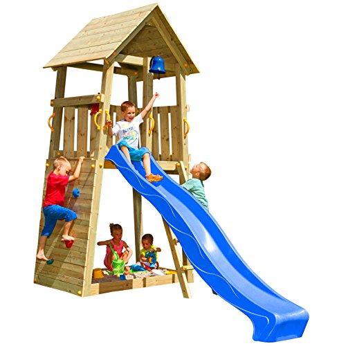 Blue Rabbit 2.0 Spielturm Belvedere mit Rutsche Kletterturm mit Kletterwand Glocke Sandkasten Lenkrad und...