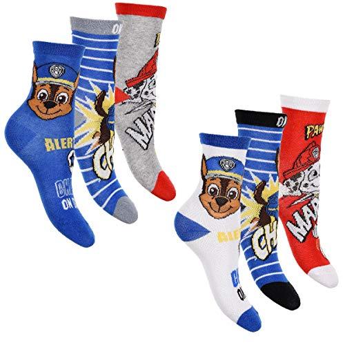 PAW PATROL 6er Pack Jungen Socken Strümpfe vielen verschiedenen Muster und Designs (Mix 9, 31-34)