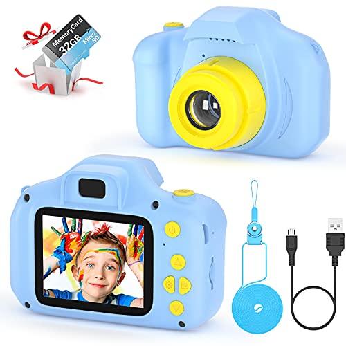 Kinder Digital Kamera Spielzeug Kleinkind Kamera Spielzeug 2 Zoll HD-Bildschirm 1080P 32 GB TF-Karte...