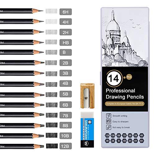 Bleistift Set, Telgoner 14 Stück Zeichenstifte Skizzierstifte Set 12B 10B 8B 7B 6B 5B 4B 3B 2B B HB 2H...