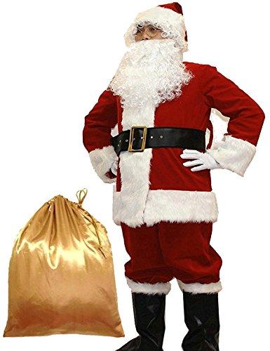 Potalay Unisex - Erwachsene Deluxe Sankt-Klage 10st. Weihnachten Erwachsener Weihnachtsmann-Kostüm...