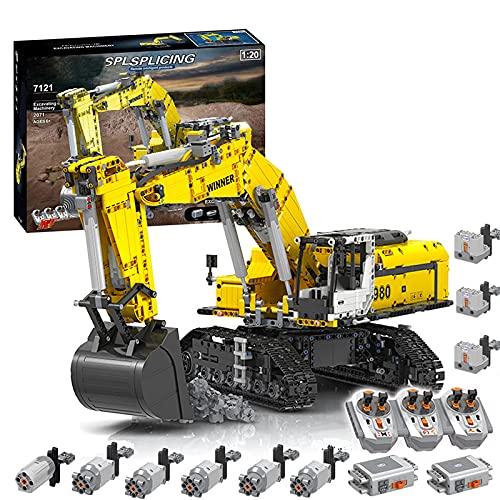 Bybo Technik Bagger Bausteine, Technik Raupenbagger mit 6 Motoren und 3 Ferngesteuert, Kompatibel mit...
