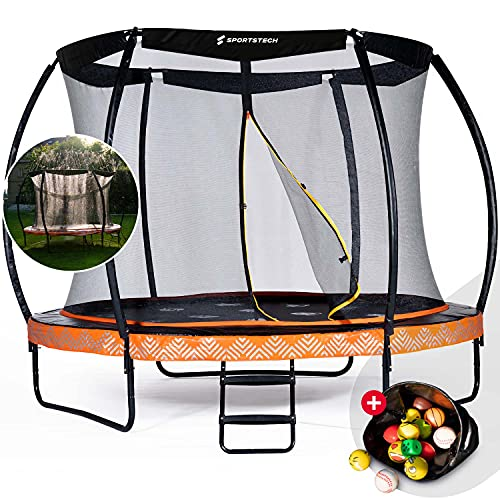 Sportstech Gartentrampolin Marktneuheit HTX500 | mit 360° Wassersprinkler + Cooler Sprungmatte | Outdoor...