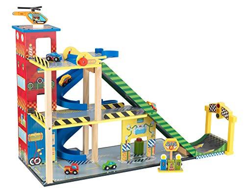 KidKraft 63267 Rennwagen Rennbahn-Set mit Mega-Rampe aus Holz, Bunt
