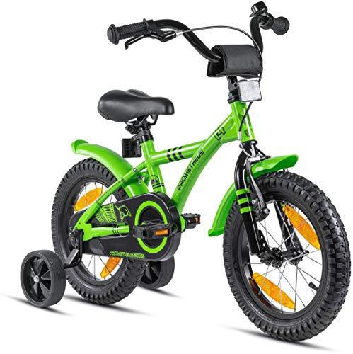 Prometheus Kinderfahrrad 14 Zoll Jungen mit Stützräder ab 3-4 Jahre Mädchen Rücktritt 14zoll BMX...