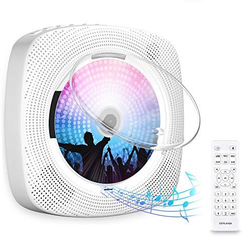 Gueray CD-Player für Wandmontage mit Bluetooth HiFi Lautsprecher Fernbedienung LED-Display Unterstützt...