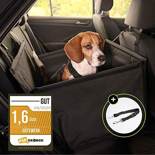 Hundesitz Auto Hunde Autositz kleine Hunde Hundeautositz mit Gurt Hundekorb fürs Auto Sitz Rücksitzbank...