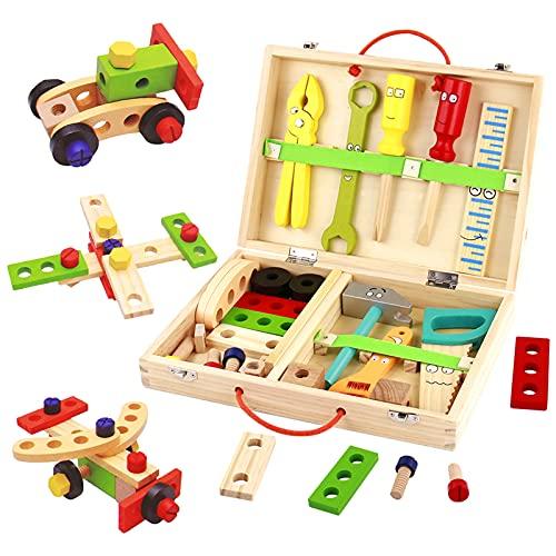 Werkzeugkoffer Kinder Holzspielzeug Werkzeugkasten-Kinderwerkzeug Lernspielzeug Werkzeug Kinder Werkzeug...