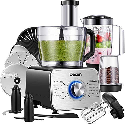 Decen Küchenmaschine Multifunktional, 1100W Food Processor mit 3 Geschwindigkeiten include Elektrischer...