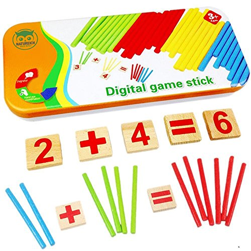 Habba-Babba Montessori Mathe Spielzeug aus Holz inkl. Metallbox zum Aufbewahren Zahlen Lernen mit...