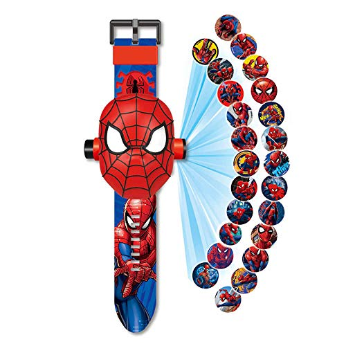 Spiderman-Armbanduhr mit 24 Figuren, Superhelden, Spiderman-Man, Elektronische Armbanduhr für Kinder,...