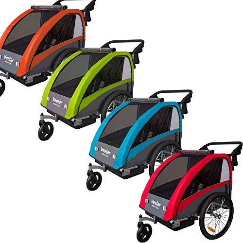Veelar Sports 2 in 1 Kinderanhänger Fahrradanhänger Anhänger mit Buggy Set + Federung 60302-02 (GRÜN)