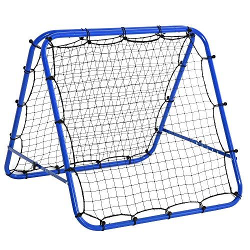 HOMCOM Baseball Rebounder Kickback Tor Rückprallwand Netz beidseitiger Rückprall Faltbar Stahl+PE Blau...