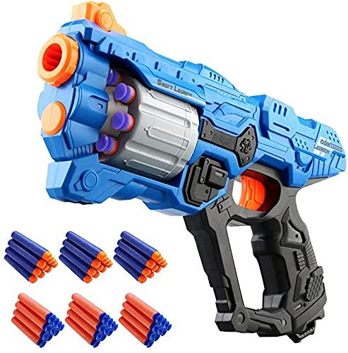 Kinder Pistole für Nerf Gun Pfeilen, Spielzeug Waffe mit 8 Schuss Rotationstrommel, Schaumtoffpfeile...