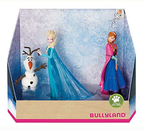 Bullyland 13446 - Spielfigurenset, Walt Disney Die Eiskönigin - Elsa, Anna und Olaf, liebevoll...