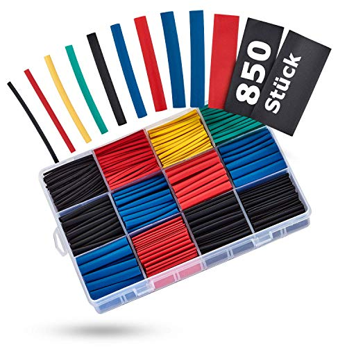 BAURIX® Schrumpfschlauch Set 850 Stück I Schrumpfschläuche Sortiment Farbig I 2:1 Schrumpfverhältnis...