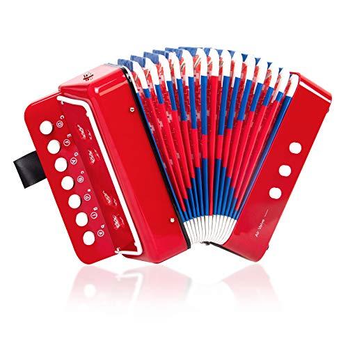 Horse Akkordeon mit 10 Tasten, Musikinstrumente für Kinder, Anfänger, leicht und umweltfreundlich (rot)