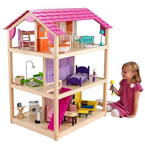KidKraft 65078 So Chic Puppenhaus aus Holz mit Möbeln und Zubehör, Spielset mit drei Spielebenen für...