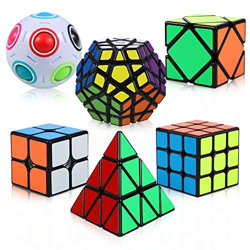 ThinkMax Zauberwürfel Set, 6 Stück Speed Cube Set - 2x2x2 3x3x3 Pyramide Megaminx Skew Cube Magic Cube...