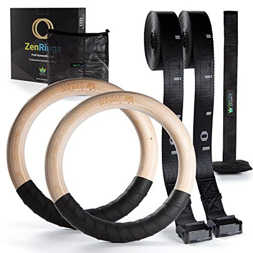 Turnringe Holz Ringe Turnen I ZenRings Fitness Gymnastikringe mit Türanker und Gurten inkl. Gratis...