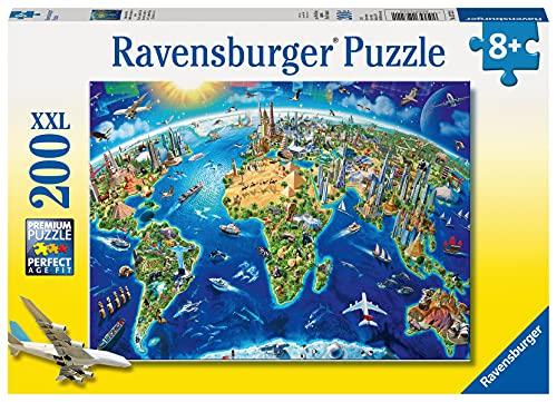 Ravensburger Kinderpuzzle - 12722 Große, weite Welt - Puzzle-Weltkarte für Kinder ab 8 Jahren, mit 200...