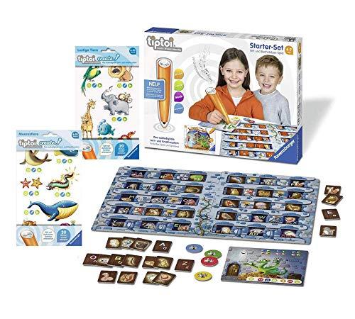 tiptoi Ravensburger 00802 - Starter-Set: Stift und Buchstaben-Spiel + 2X Create Stickerbögen- die ersten...
