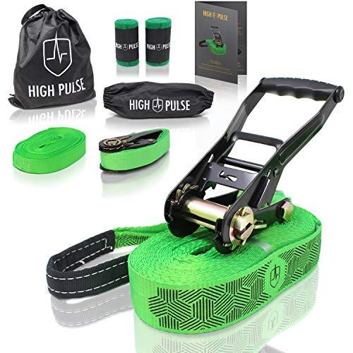 High Pulse® Slackline Set | 15 m – Komplettes Slackline-Set (12,5 m Band + 2,5 m Ratschenband) mit...