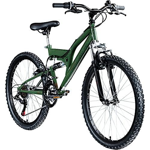 Galano FS180 24 Zoll Mountainbike Full Suspension Jugendfahrrad Fully MTB Kinder ab 8 Jahre Fahrrad...