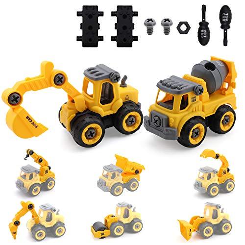 Amy&Benton Montage LKW Spielzeug für Kinder Jungen 1 2 3 Jahren, DIY 8-in-2 Bagger Spielzeug mit...
