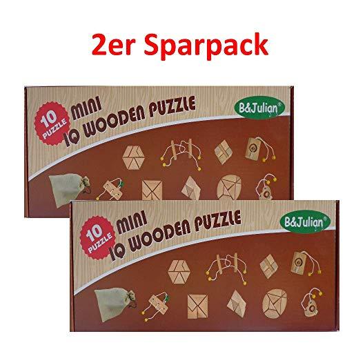 B&Julian 2er Sparpack IQ Puzzle 10 Mini Holz Puzzlespiel 3D Holzpuzzle Knobelspiele Geduldspiel Set...