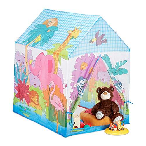 Relaxdays 10024756 Spielzelt Dschungel Tiere, f. Kinderzimmer, Outdoor, ab 3, Stoff, Safari Kinderzelt...