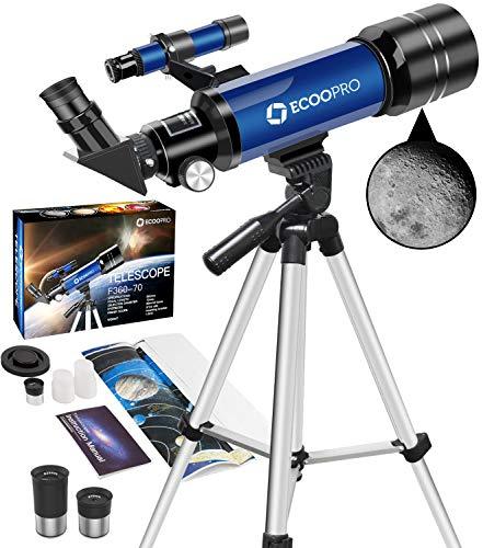 Teleskop Astronomie, Tragbares 70 mm Refraktor Fernrohr Teleskop Ideal für Kinder Einsteiger mit...