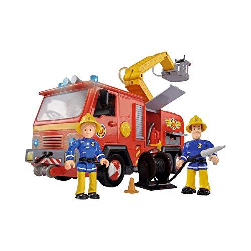 Feuerwehrmann Sam mit Feuerwehrauto und 2 Figuren