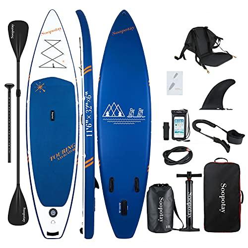 Soopotay Aufblasbares Standup Paddleboard, aufblasbares SUP Board Stand Up, iSUP Paket mit allem Zubehör...