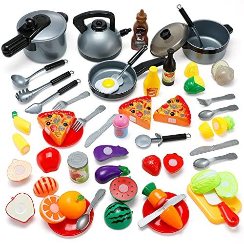 Küchenspielzeug 45 PCS, Theefun Kinderküchen Spielzeugset, Obst Gemüse Lebensmittel Küche...