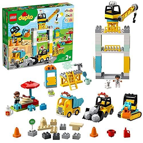 LEGO 10933 DUPLO Große Baustelle mit Licht und Ton, Fahrzeuge mit Push und Go Motor, Spielzeug für...