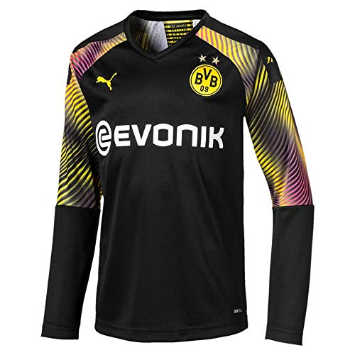 PUMA Jungen BVB LS GK Shirt Replica Jr with Evonik without OPEL Torwarttrikot, Schwarz, 164