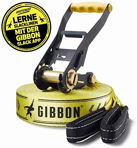 Gibbon Slacklines Classic Line, Gelb, 15 Meter (12,5m Band + 2,5m Ratschenband), inkl. Ratschenschutz,...